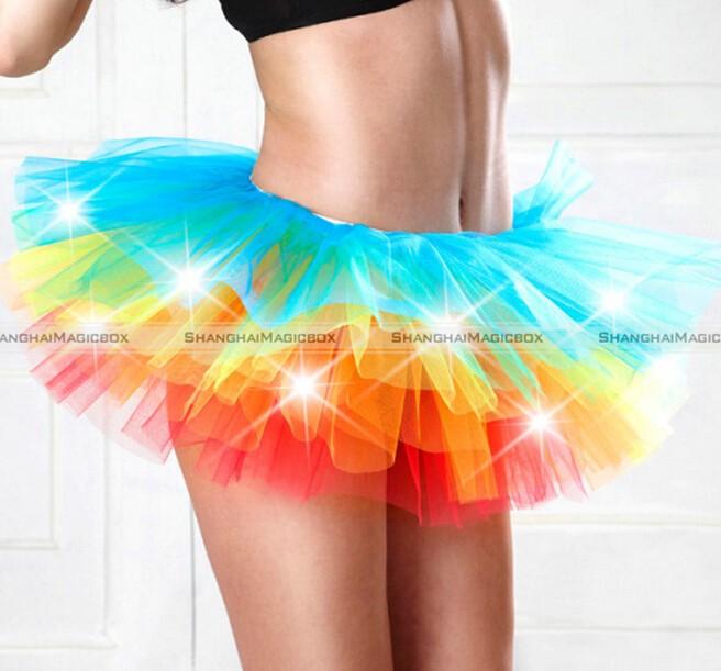 Women LED Light Up Neon Rainbow Tutu Fancy Dress Halloween Costume Adult Skirt