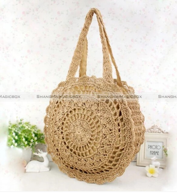 Vintage French Straw Woven Round Beach Bag Shopping