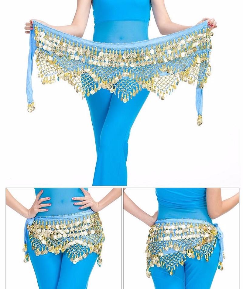 Belly Dance Costume Hip Scarf Tribal Triangle Belt Skirt Velvet Gold Coins S6