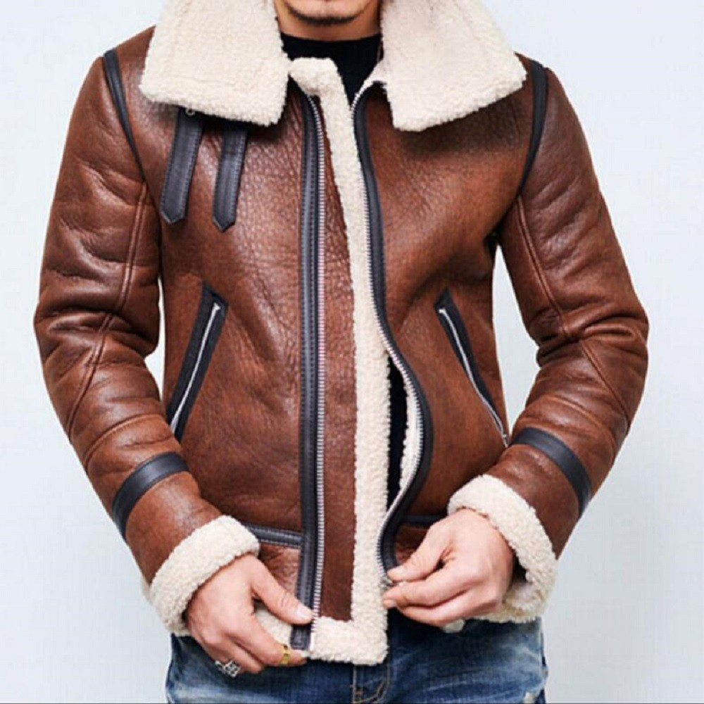 Winter Thicken Mens Leather Motorcycle Fur Lined Warm Coat Jacket Parka European