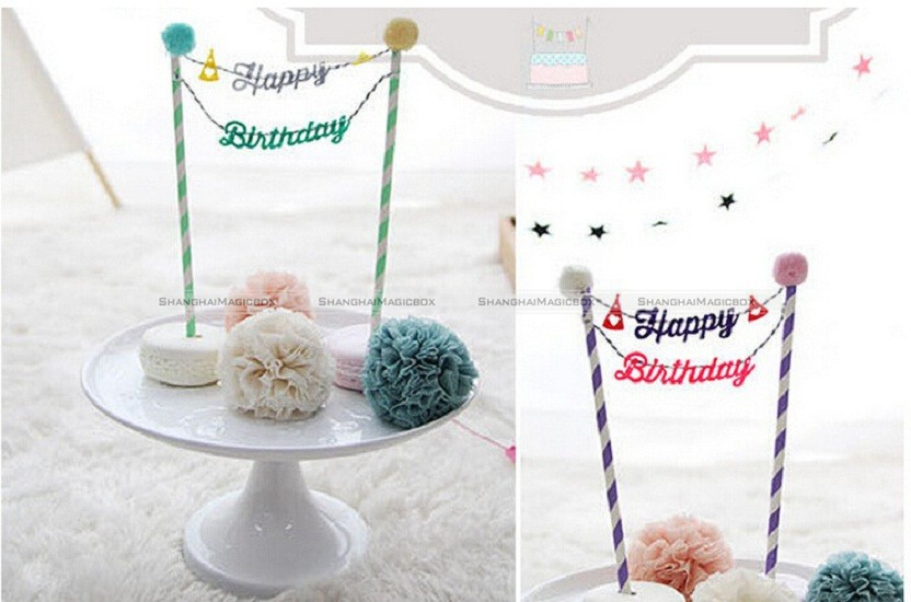 Baby Cake Bunting Banner Kit Topper Picks Birthday Party Flags