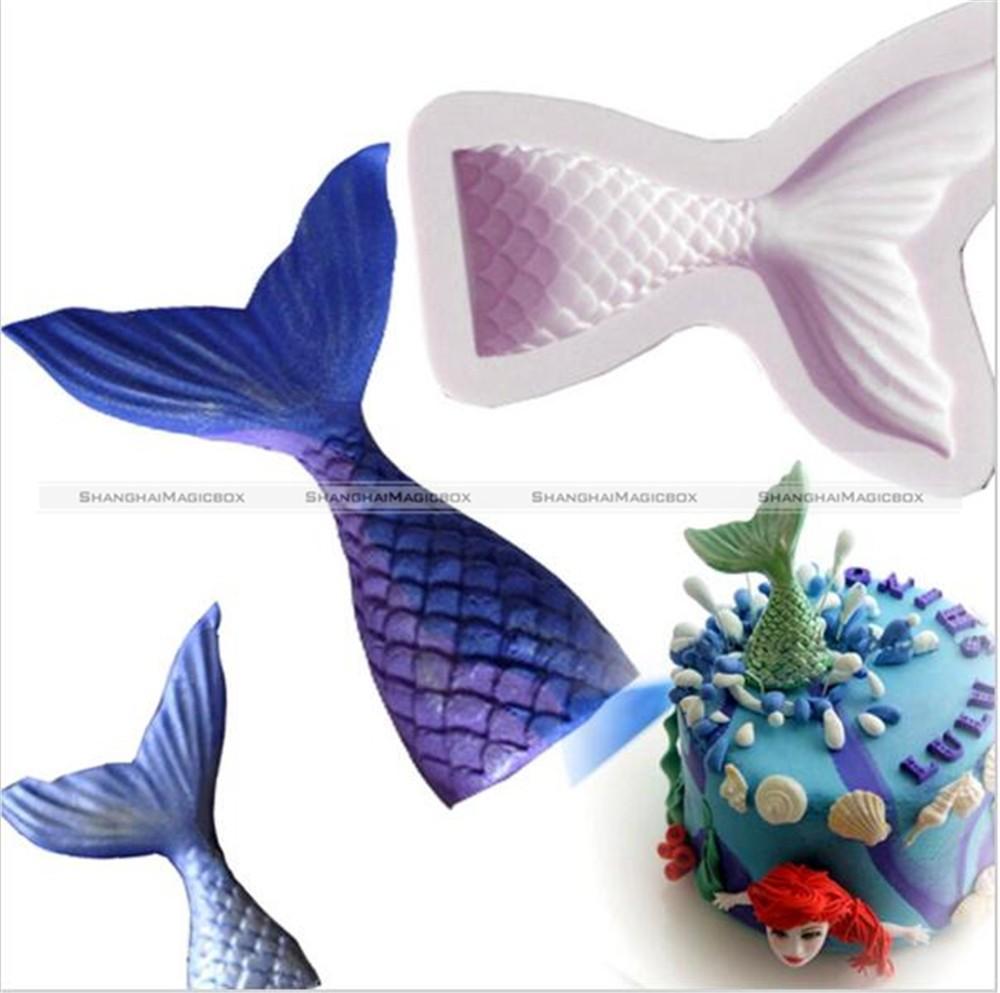 1Pc 3D Mermaid Tail Mold Non-stick Fondant Cake Silicone Chocolate Soap Mold S8