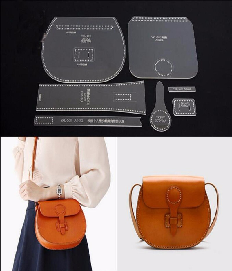 shoulder bag acrylic leather handbag template leathercraft pattern