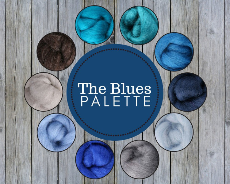 The Blues Color Palette Wool Roving Fiber 2.5oz//70 gms Needle Felting Spinning