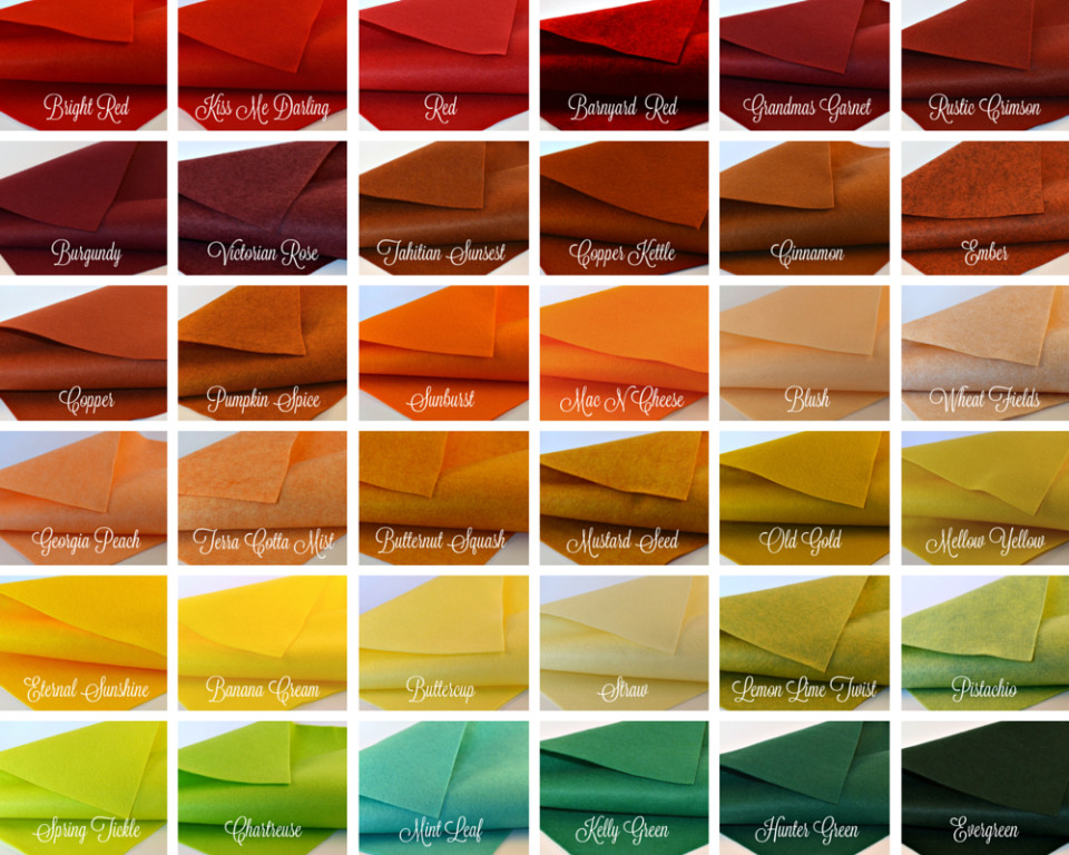 21 Sheets Summer Colors Collection Merino Wool blend Felt Sheets Sewing DIY Craft 6X12