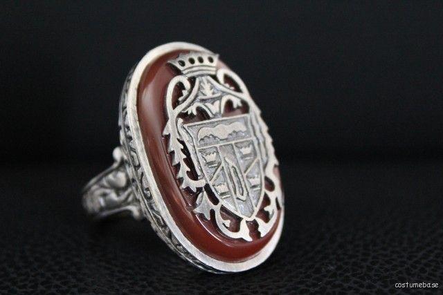 Dracula Crest Ring Carnelian Bloodstone Antique Gold