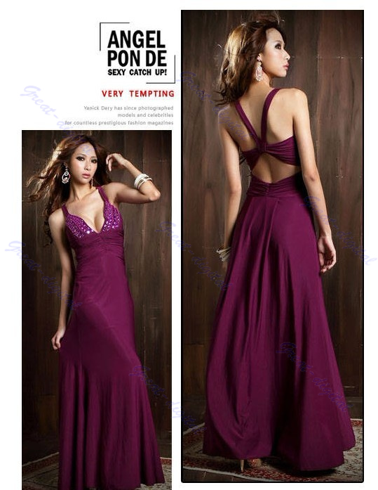 Lady Sexy Low Cut V Neck Strappy Backless Jewel Full Length Evening Gown Dress