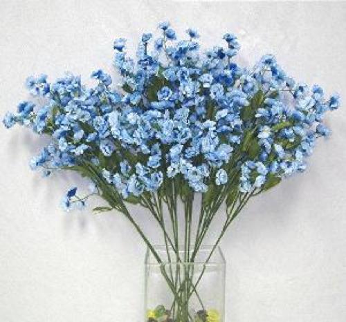 Light Blue Flowers For Weddings: 12 Baby's Breath Light Blue Artificial Silk Wedding