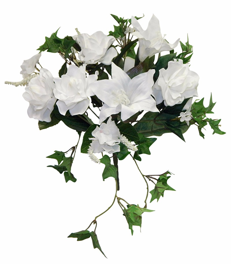 Details about WHITE Gardenia Tiger Lily Ivy Bouquet Silk Wedding Flowers  Centerpieces