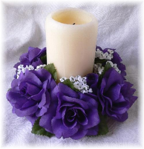 Candle Flower Centerpieces Wedding: PURPLE CANDLE RING Wedding Centerpieces Silk Roses Flowers