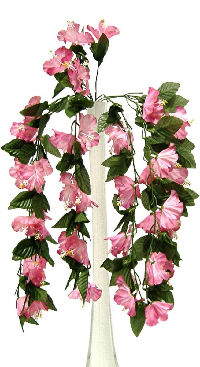 Details About 26 Hibiscus Mauve Pink Hanging Bush Silk Flowers Wedding Bouquets Centerpieces
