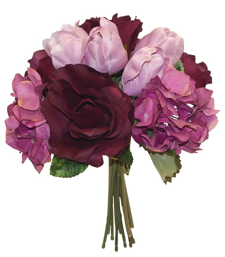 Amazing Details About Bridal Bouquet Purple Roses Hydrangea Tulips Wedding Silk Flowers Centerpieces Download Free Architecture Designs Estepponolmadebymaigaardcom