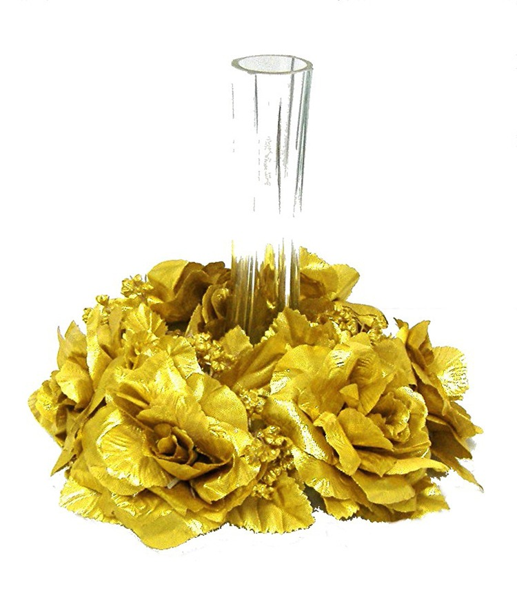 Golden Wedding Centerpieces.Details About Candle Ring Gold Wedding Party Flowers Unity Centerpieces Silk Roses Flowers