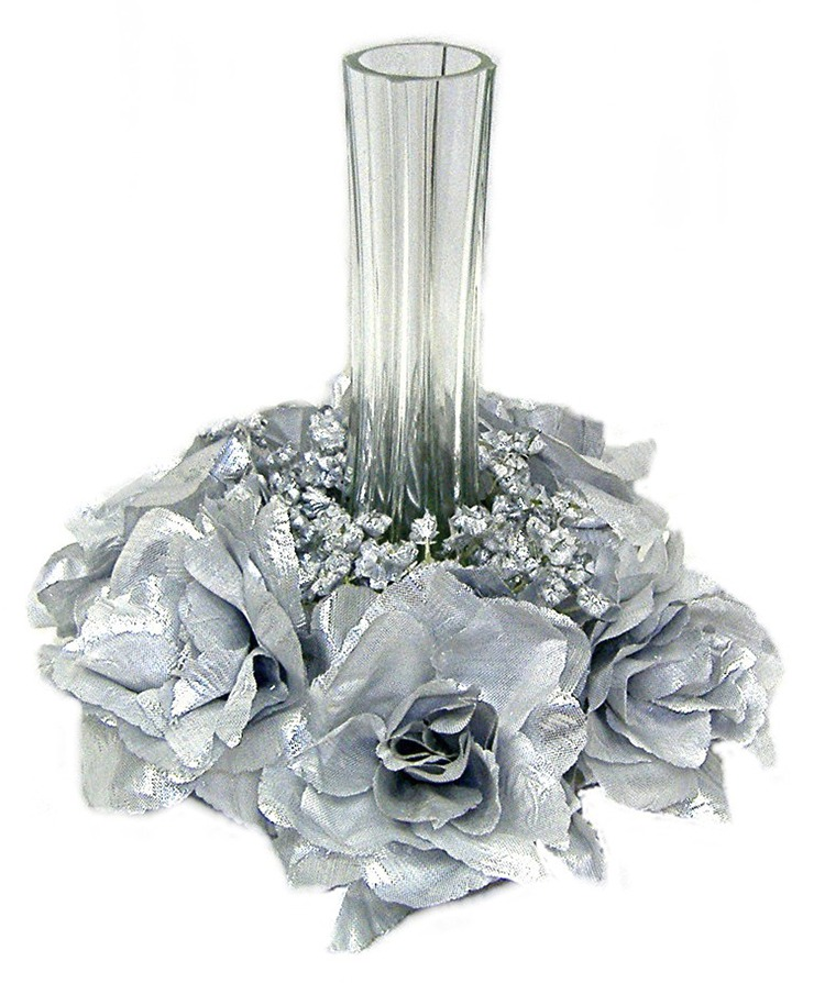 Silver Candle Ring Silk Roses Wedding Flower Centerpiece Unity