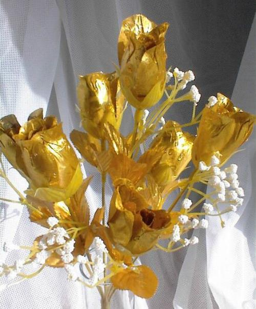 Flower For 50th Wedding Anniversary: 84 GOLD Silk Roses Buds Wedding Bouquet Flowers 50th