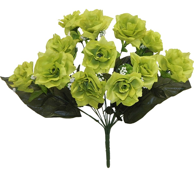 12 Open Roses Lime Green Long Stems Silk Wedding Flowers
