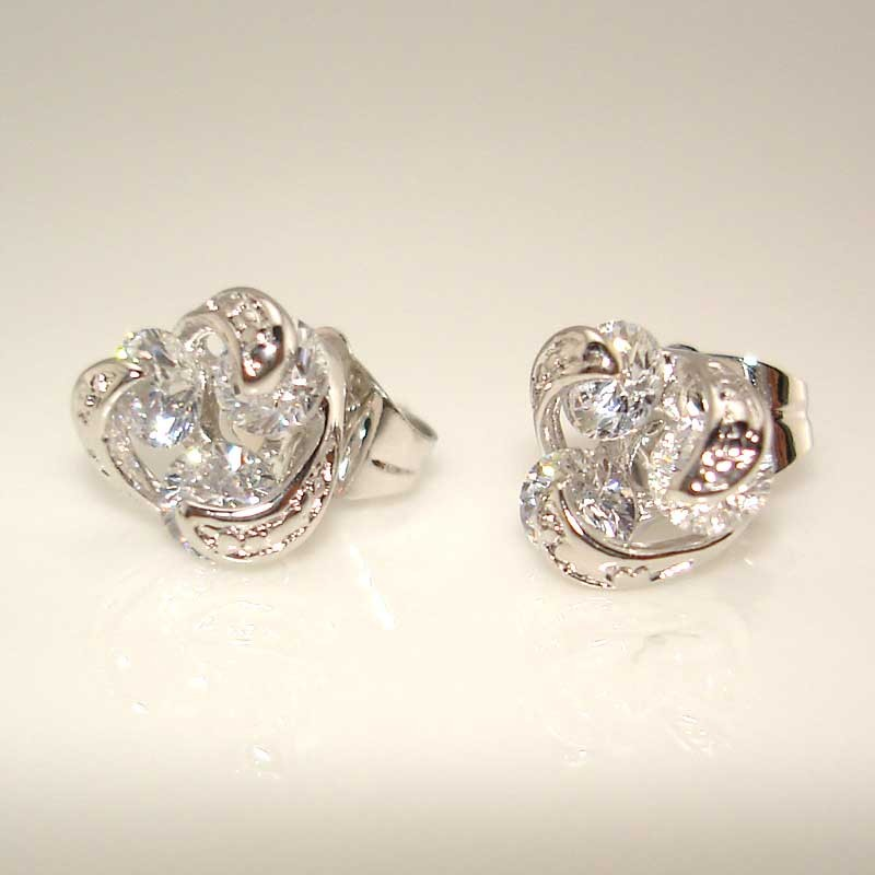 Luxe 18k or blanc rempli Boucles d/'oreilles 9 mm Clou clair zircon gold filled Charm Fashion Jewelry