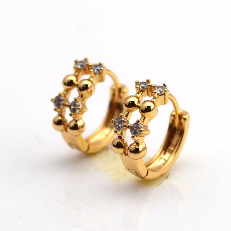 Charming 18k Yellow Gold Filled Women Smooth Earrings 16mm Hoops wedding Jewelry