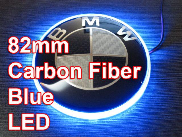 82mm blau led bmw carbon fiber emblem badge heckklappe for. Black Bedroom Furniture Sets. Home Design Ideas