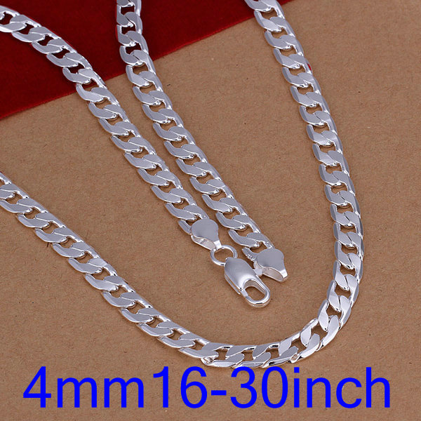 wholesale 925Sterling sliver 4mm flat chain necklace 16-30inch with gift box
