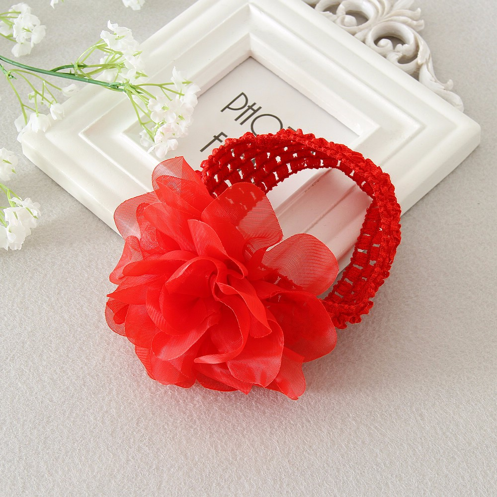 Baby headband infant girls Crochet Headband chiffon flower girl Hair  Accessories 2c6f82a17be