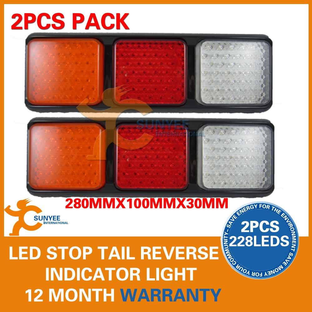 Pair Led Tail Light Bar Stop Lamp Truck Trailer Boat