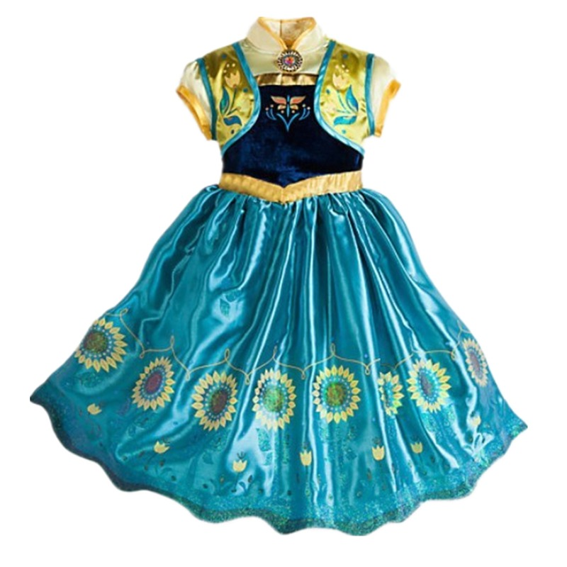 499526aac3b Details about Frozen Fever Birthday Party Anna Party Skirt Princess Cosplay  Sunflower Dress