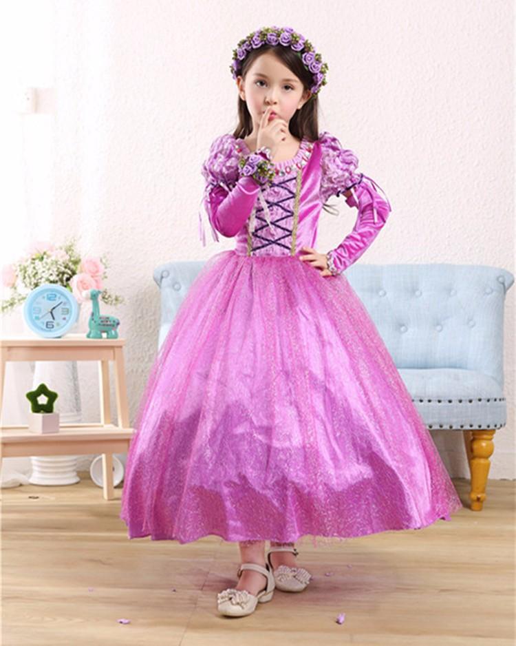 Princess Rapunzel Party kids Dress Costume Dress Ball Gown for girls ...