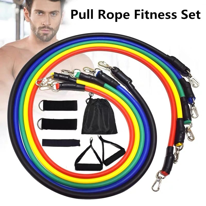 11 Pcs Workout Resistance Bands Set Pull Rope with Handles Home Fitness Set
