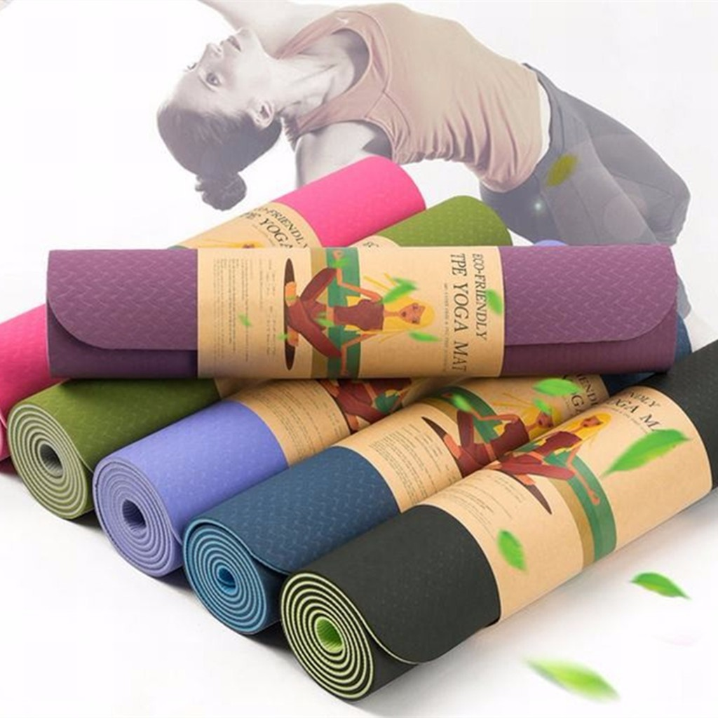 2b8340310c Details about Non Slip Durable TPE - Lightweight - Eco-Friendly - Pilates  Yoga Mat with Strap