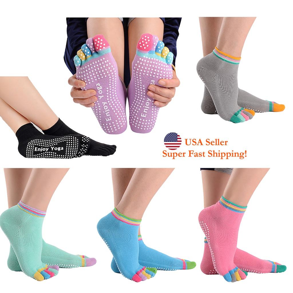 Women Fitness Pilates Yoga Ankle Socks Non Slip Massage Toe Durable Dance S