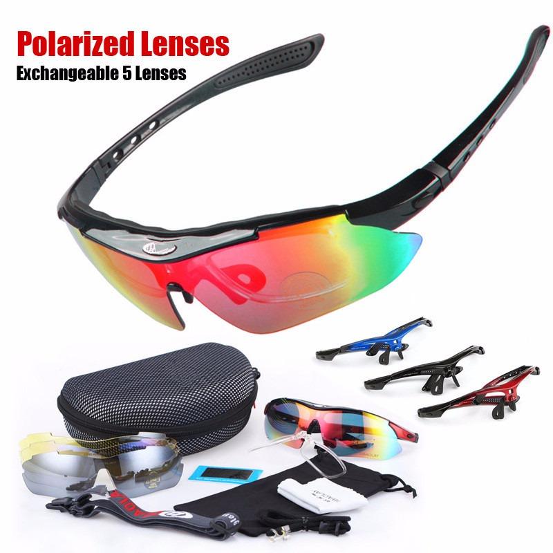 D/&H Bike Professional Polarized Cycling Glasses Sports Sunglasses UV400 5 Lens