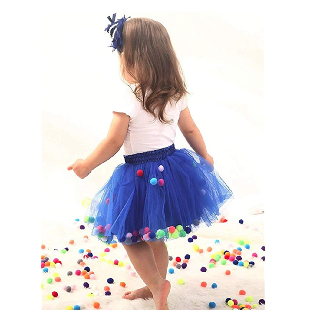Bubble Skirt with Little Colorful Puff Balls Tutu Skirts Kids 4 Layers 3D Mini Size S