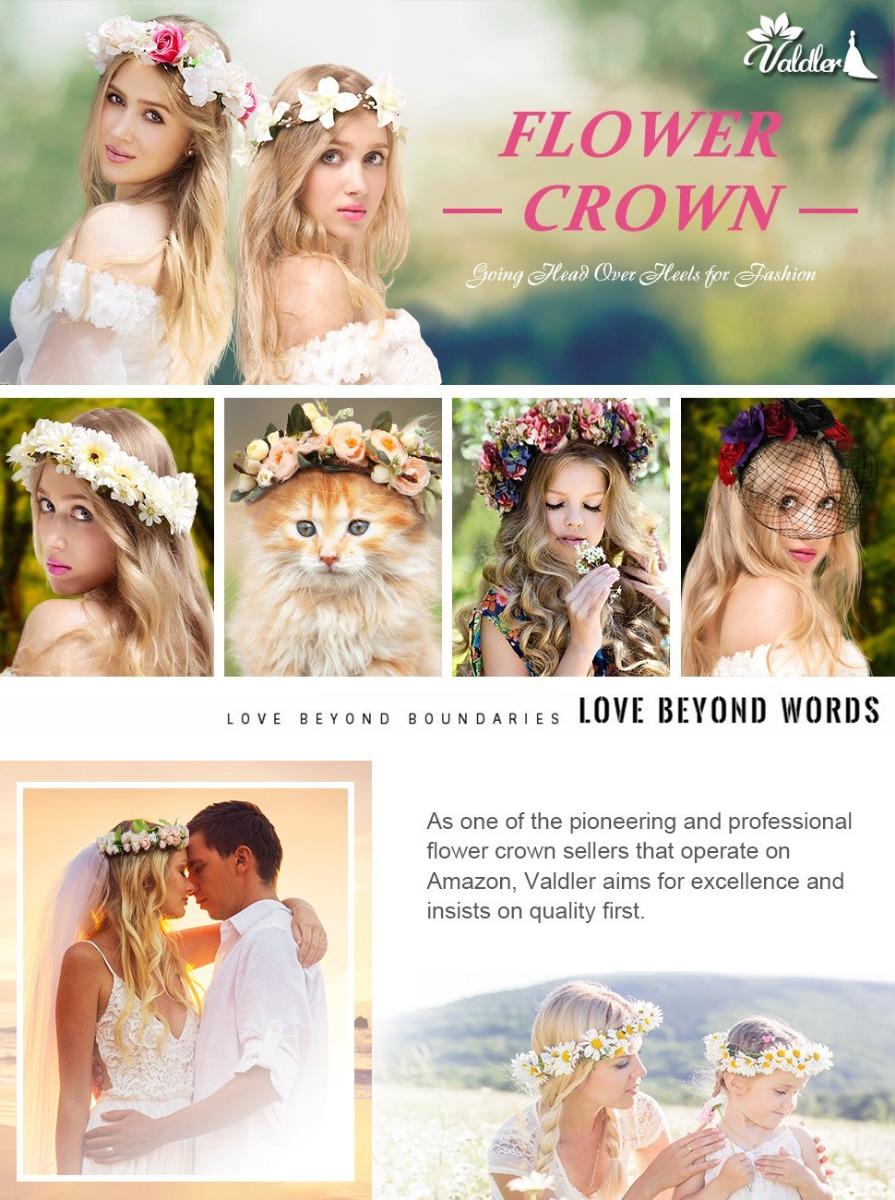 2pcs Flower Crown Exquisite Bridal Headband For Spring Tourism