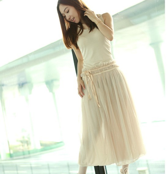 New Arrival Bohemia Style Sleeveless Dress Apricot фото.