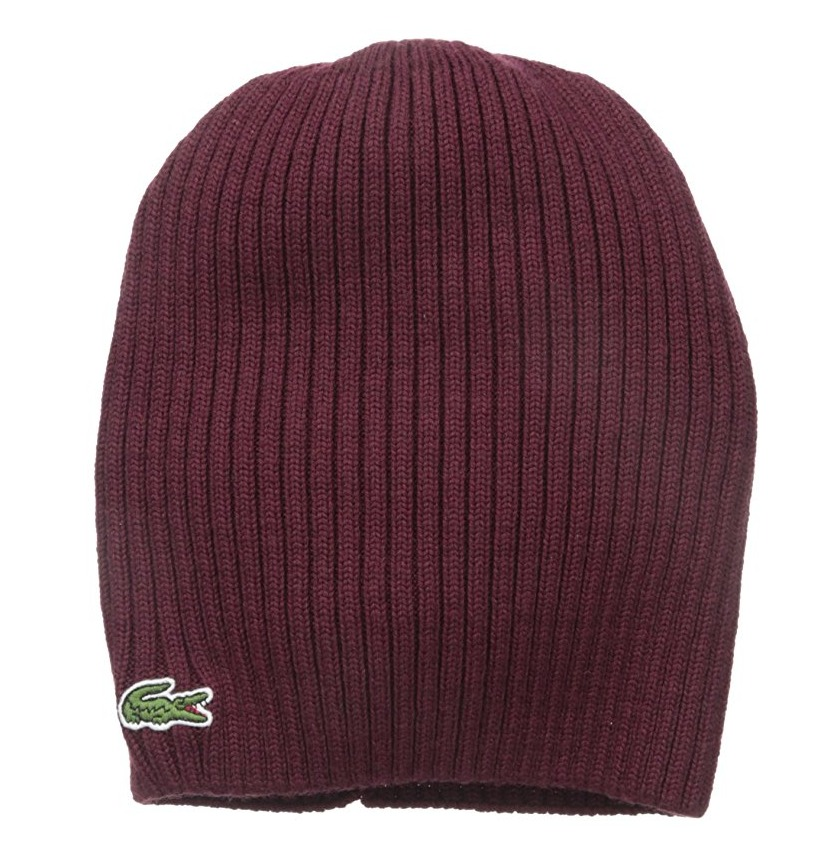 0fee4ee2aadc Details about Lacoste Ribbed 100% Merino Extra Fine Wool Knit Beanie Hat
