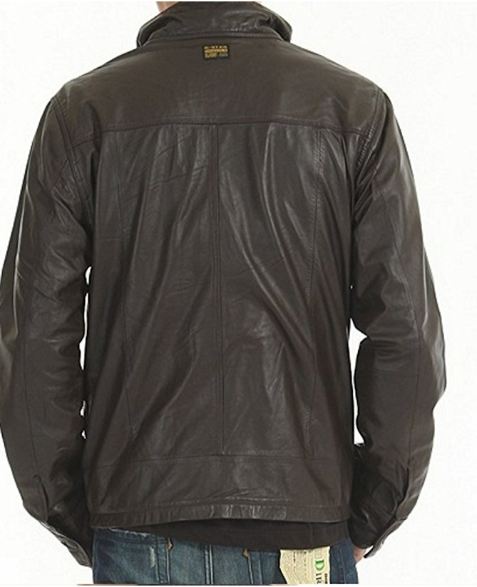 8bbe249c36 Details about G STAR RAW Men s Dryden Leather Jacket Brown Size M