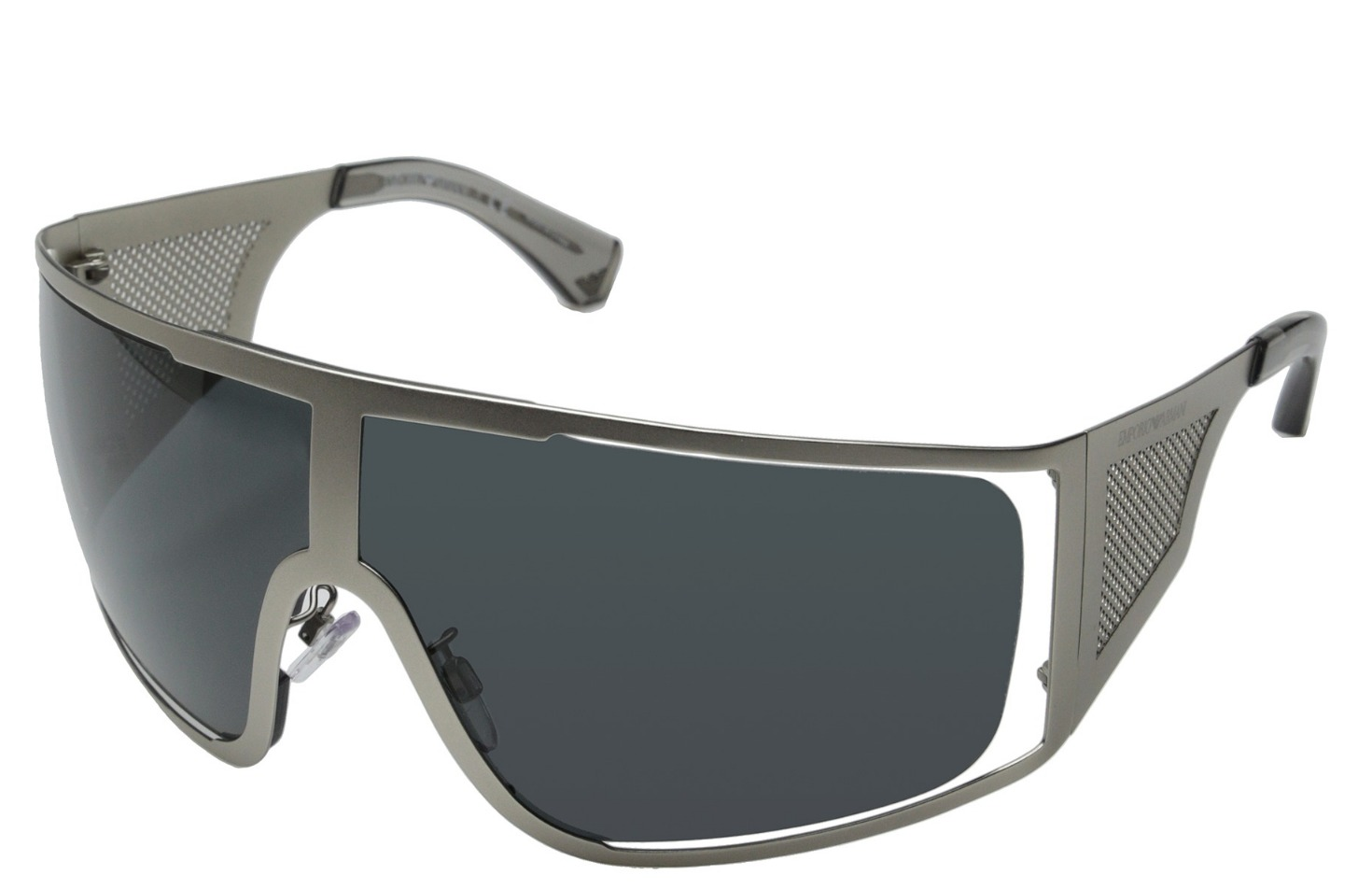 bbd3117ed8c Details about EMPORIO ARMANI Matte Silver Shield Frame w  Grey Lens  Sunglasses BN  380