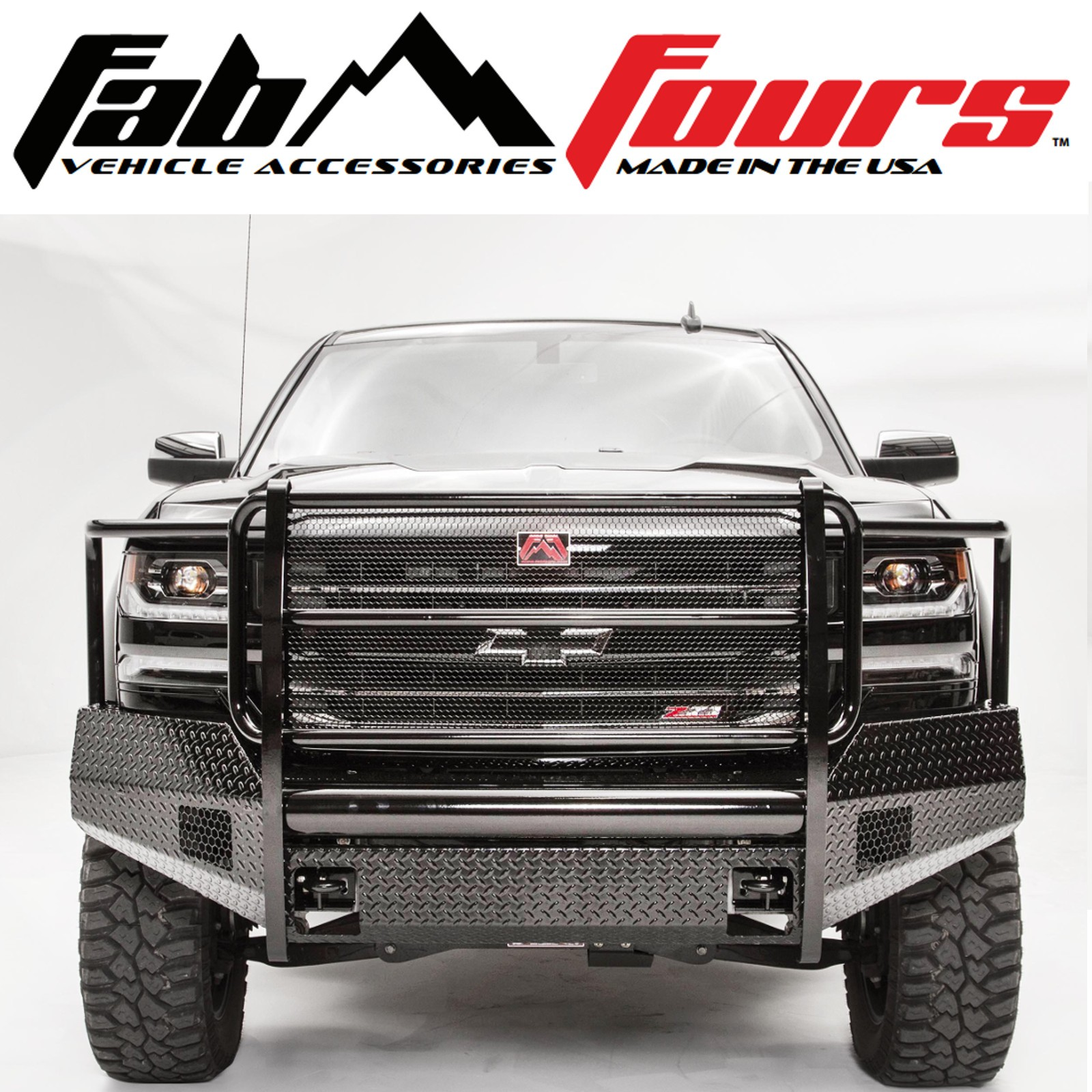 Details About Fab Fours Full Guard Black Steel Front Bumper 2016 2019 Chevy Silverado 1500