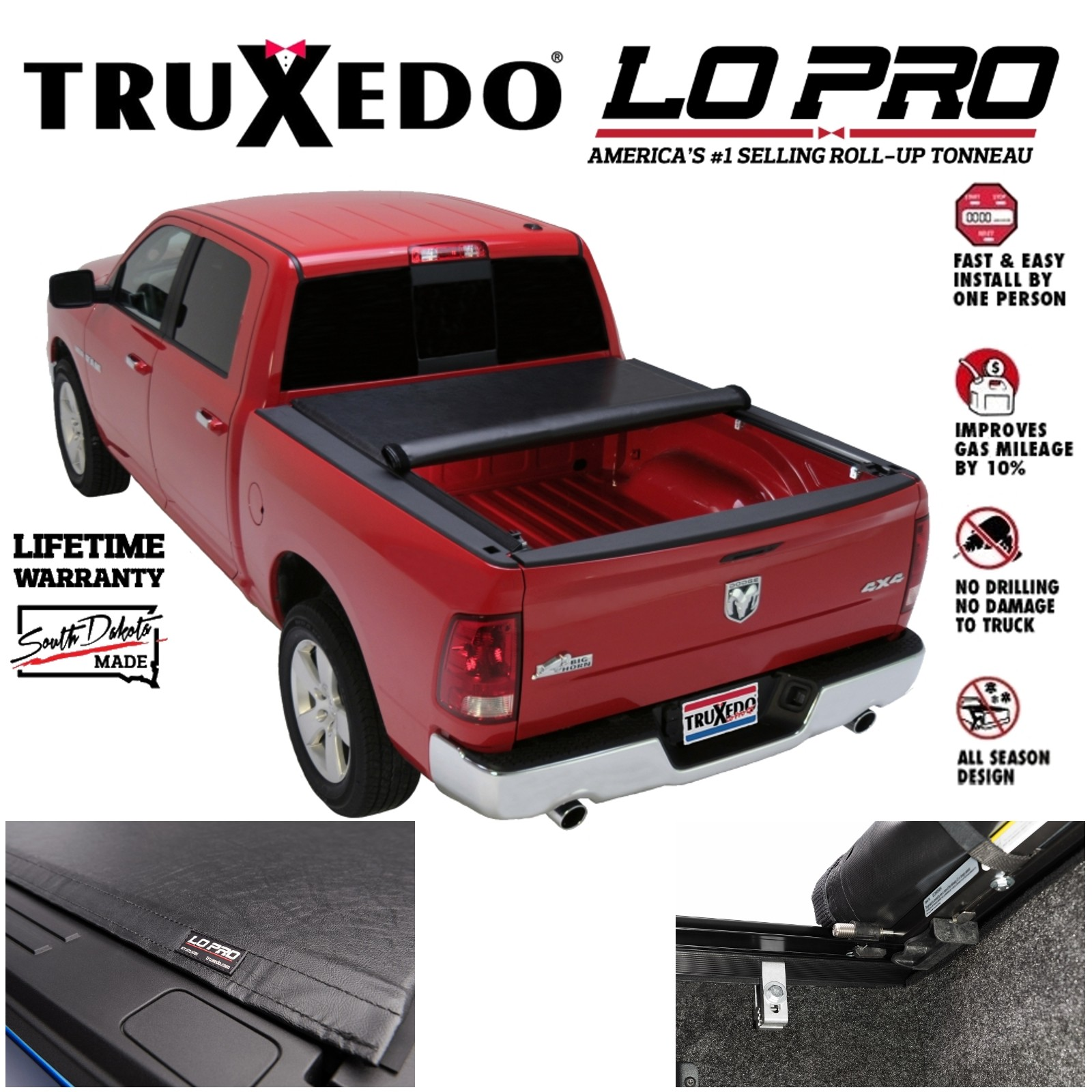 Truxedo Lopro Qt Roll Up Tonneau Cover For 2009 2018 Ram 1500 5 7 Bed W Ram Box Ebay