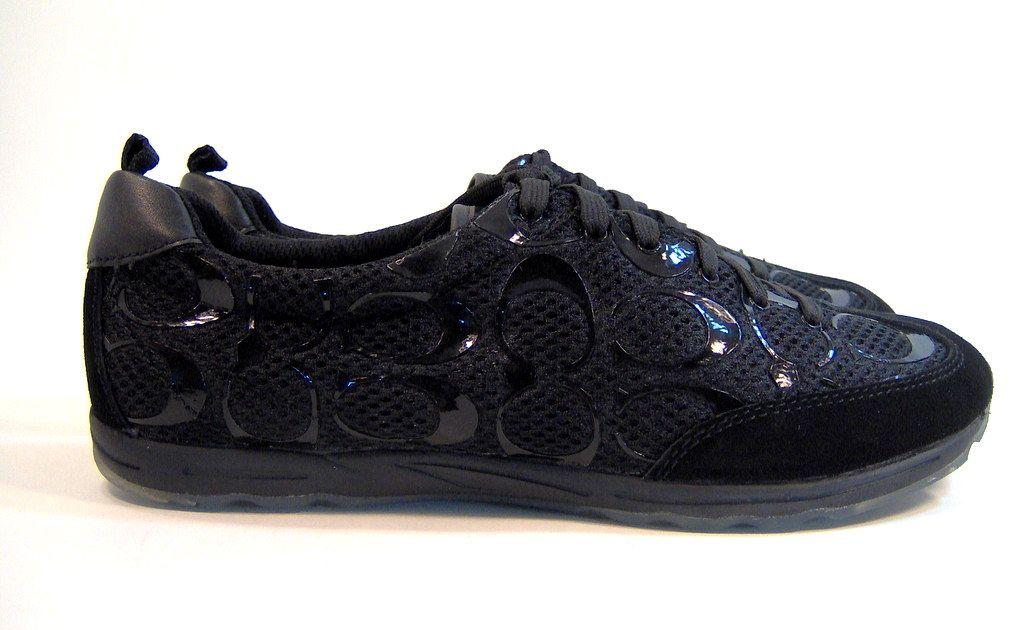 Coach Black Signature Marta Nylon Mesh Suede Sneakers ...