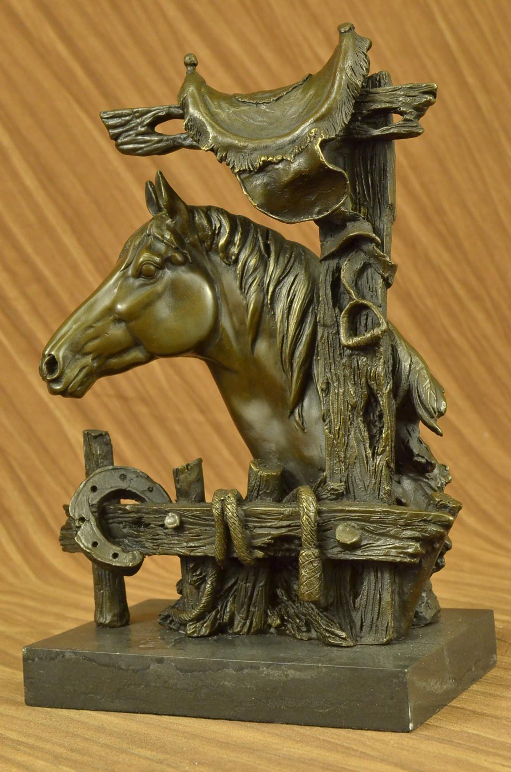 vintage bronze realmetal saddle horse statue marble base european made decor ebay. Black Bedroom Furniture Sets. Home Design Ideas