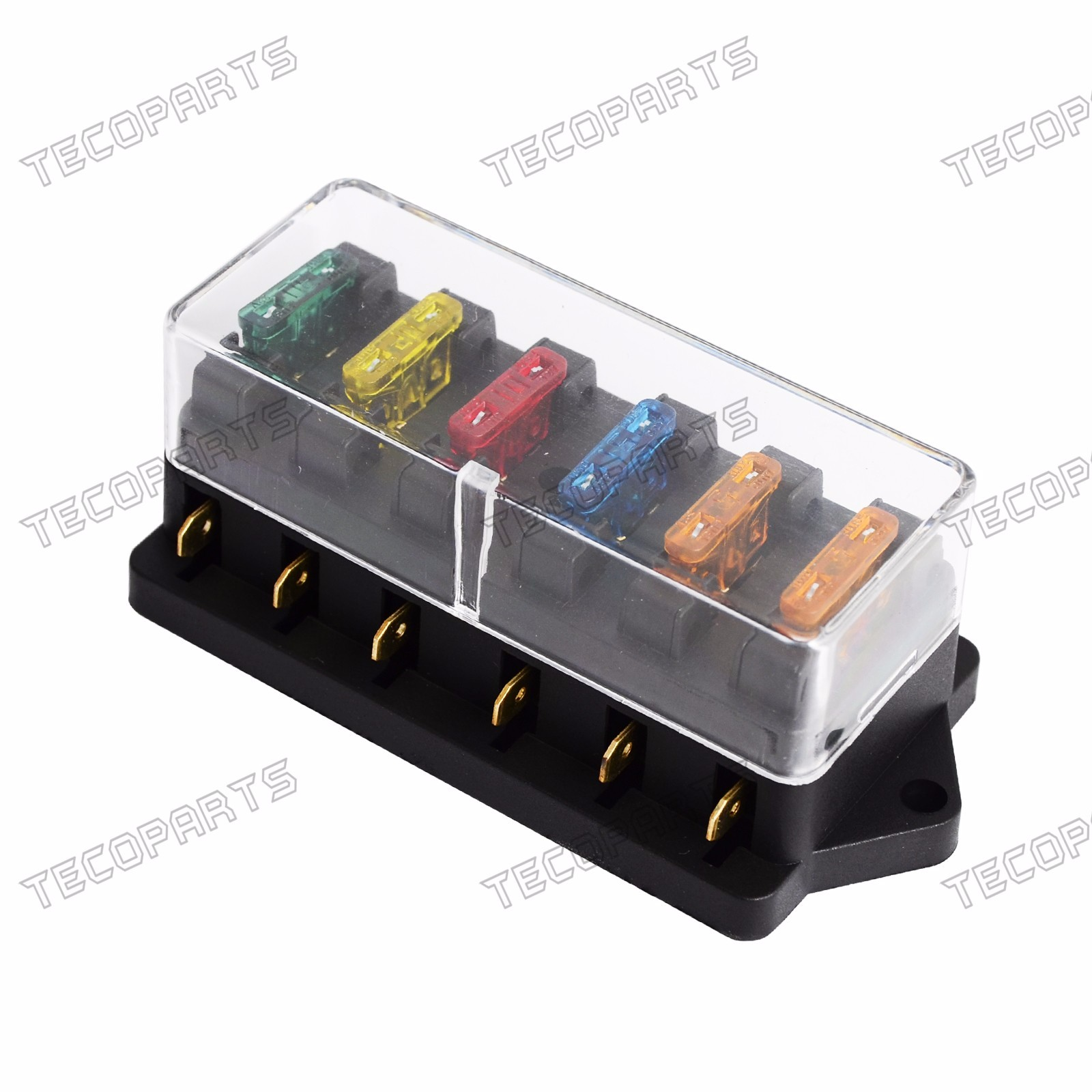 details about new 6 way fuse holder box car vehicle circuit blade fuse box block free fuse Automotive Fuse Box
