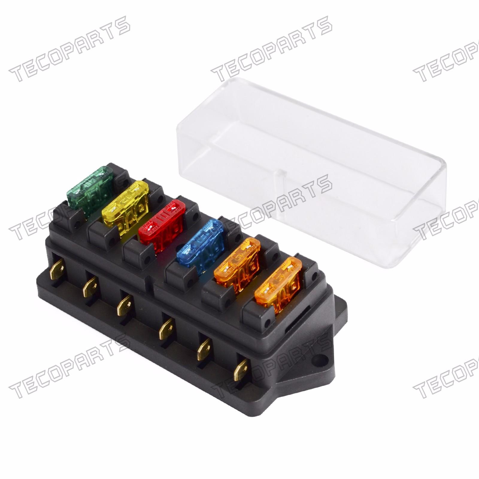 New 6 Way Fuse Holder Box Car Vehicle Circuit Blade Block Power Adapter Free