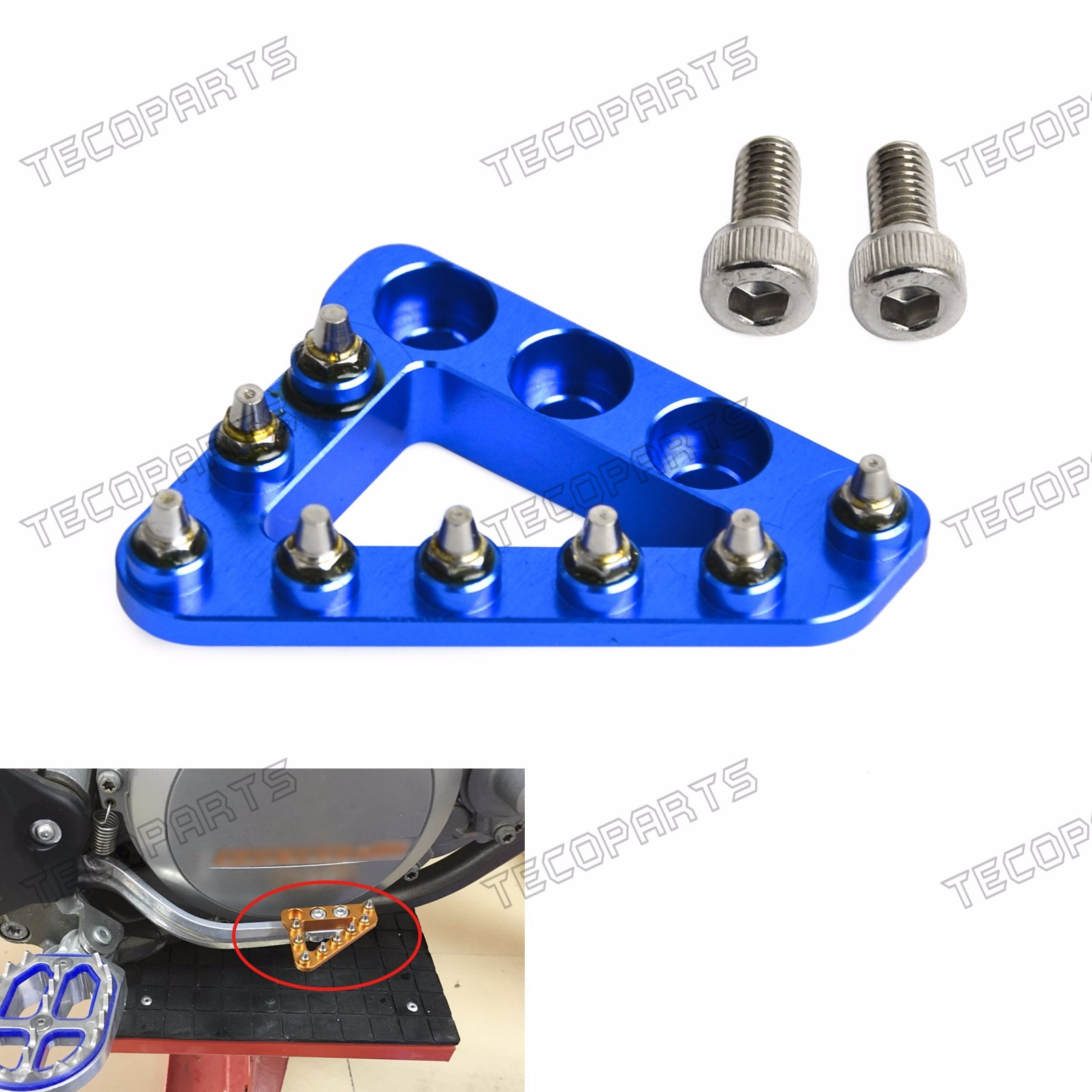 also compatible with select OEM Beta Husqvarna /& KTM pedals Hammerhead Replacement Rear Brake Pedal Tip Rotating Silver