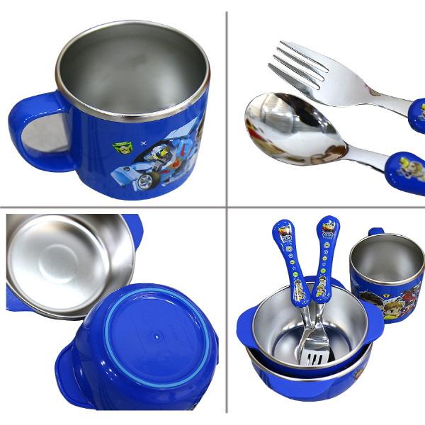 Baby Kid Stainless Steel Dinnerware Non Slip Tobot Characters  sc 1 st  eBay & Kid Stainless Steel Dinnerware Non Slip Tobot Rice Soup Bowl Spoon ...