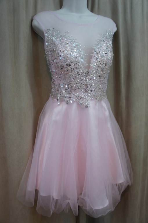 3245f258c1b Details about Betsy   adam Dress Sz 10 Pastel Pink Beaded Illusion Tulle Cocktail  Party dress