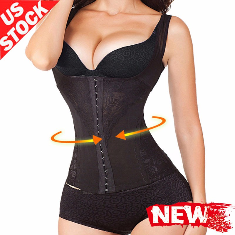 e823e67776 Details about 6 Row Hooks Long Torso Body Slim Shapewear Waist Trainer Vest  For Weight Loss
