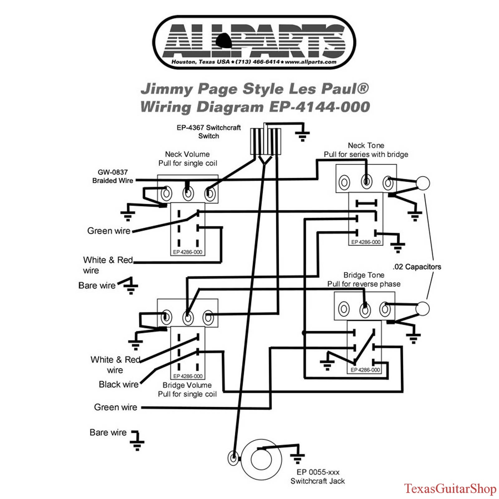 Wiring Kit Gibson Jimmy Page Les Paul Complete With Schematic Pearly Gates Humbucker Diagram 1 Questions Please Ask Thanks