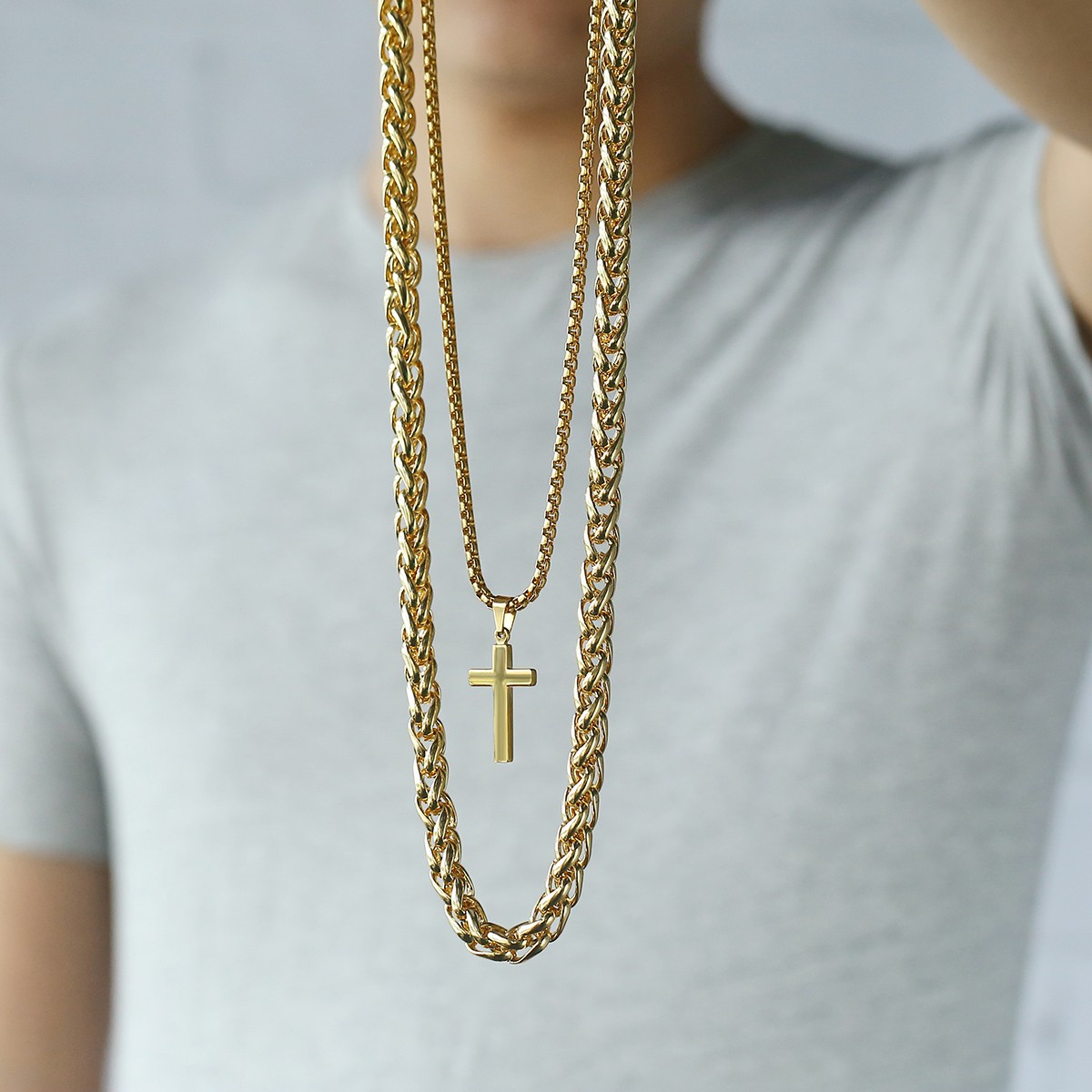 Cross Pendant Necklace Mens Double Chain Stainless Steel Curb Wheat Gold Silver Ebay